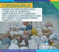 A Câmara Municipal de Salgueiro doou mais de  1 tonelada de alimentos arrecadados.